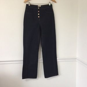 Zara Dar Wash Button Fly Wide Leg Jeans
